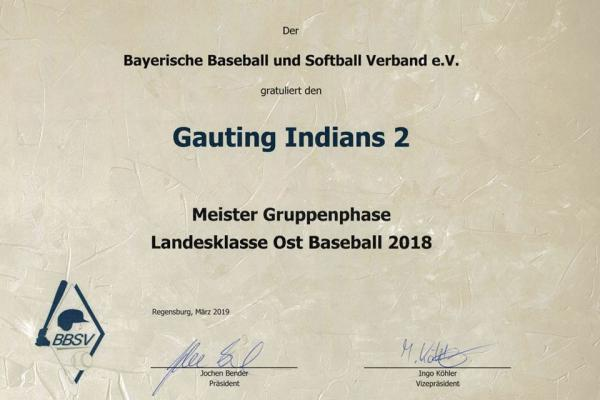 Gauting Indians 2: Meister Gruppenphase 2018